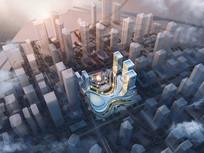 弧体流线型建筑鸟瞰效果图
