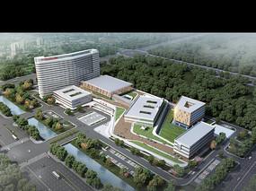 开发区医院建筑鸟瞰效果图 PSD