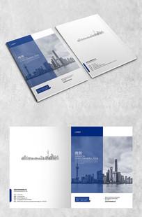 蓝色半透明建筑商务封面