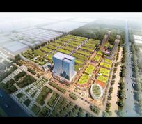 绿化屋顶规整小区建筑模型