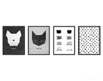 猫头元素装饰画