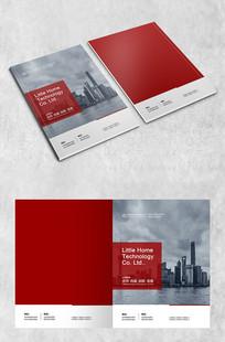 深红建筑商务封面
