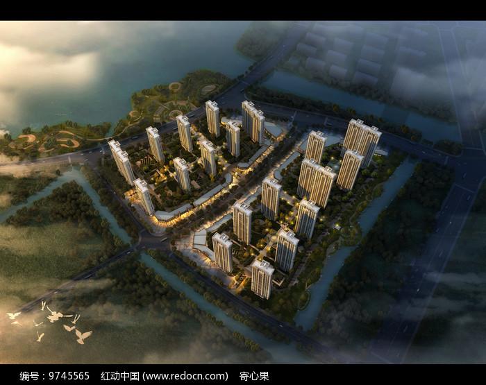 现代化花园式高层建筑鸟瞰模型图片