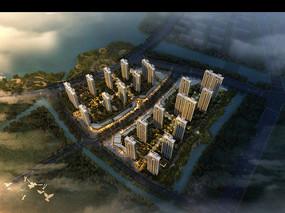 现代化花园式高层建筑鸟瞰模型