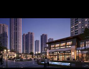 现代化商业街灯光建筑模型