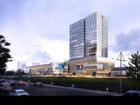 现代化商住广场建筑远景模型