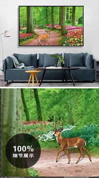 新中式水彩森林麋鹿饰画