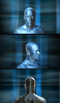 旋转的金属人体头部视频素材