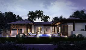 别墅庭院水景建筑效果图