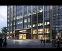 高层建筑大门灯光入口效果图 PSD