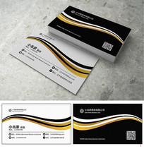 黑白金弧商务名片