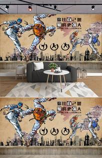 怀旧砖墙手绘篮球跆拳道背景墙