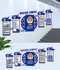 蓝色公安局交警警营楼梯文化墙