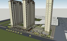 商业住宅建筑SU模型