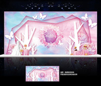 水彩梦幻婚礼舞台背景板