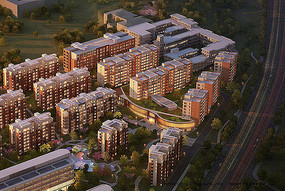 现代精美住宅区景观鸟瞰图