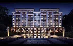 新中式小区建筑景观效果图