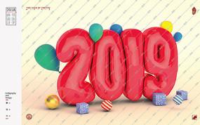2019气球C4D字体