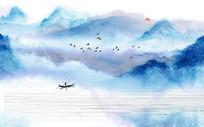 高端中国风大气水墨山水背景墙