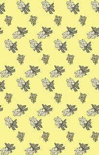 黄色背景花卉花纹图案竖版JPG