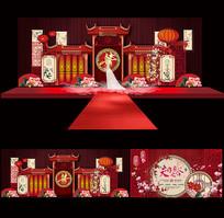 精美中式婚庆舞台背景设计 AI