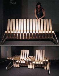 室外多功能木质公共座椅