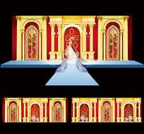 唯美婚庆婚礼舞台背景设计 AI