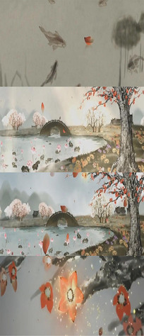 中国风古典水墨山水视频素材