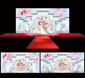 中國風婚禮婚慶舞臺背景設計 AI
