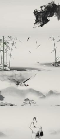 中国风山水水墨舞蹈视频素材