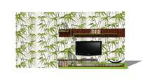 竹纹壁纸电视背景墙