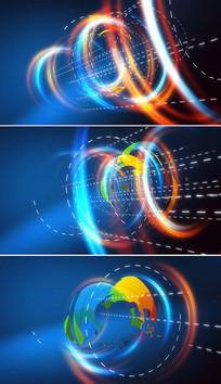 彩色圆圈旋转logo展示模板