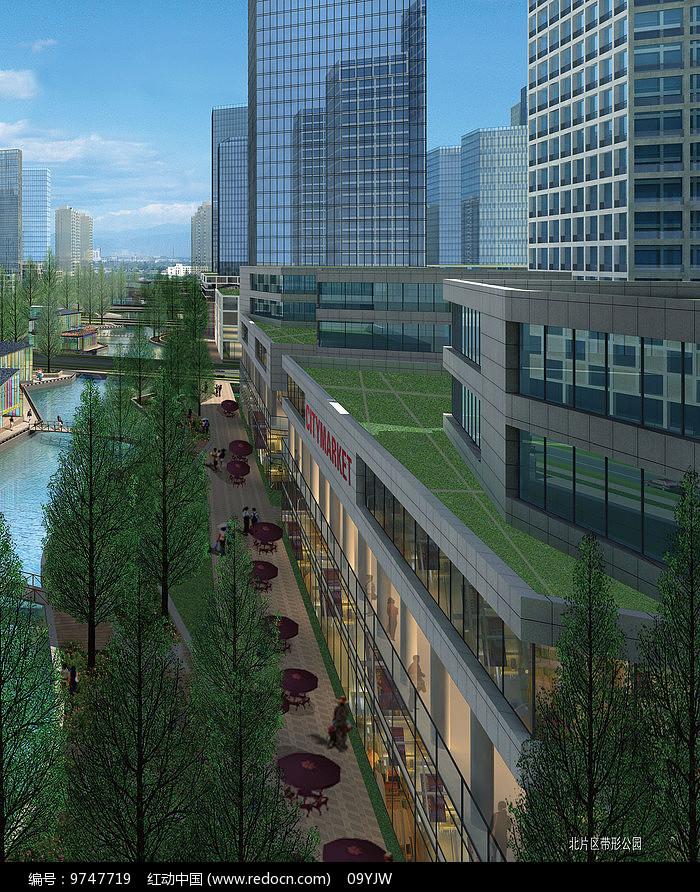 城市建设设计带行公园效果图片