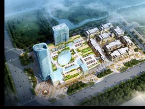 创意小区规划建筑鸟瞰效果图 PSD