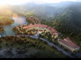 度假区酒店建筑鸟瞰效果图