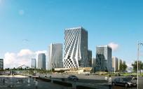 立体外墙视觉高层建筑模型