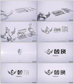 铅笔素描标志展示AE模板