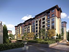 双色墙面住宅建筑绿化效果图