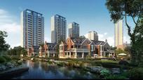 水景别墅住宅区建筑模型