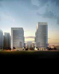 新中式高层商业办公住宅效果图 PSD