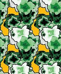 绿色局部花朵平铺背景