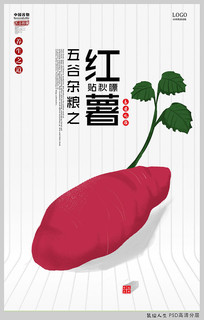 手绘简约五谷杂粮之红薯海报