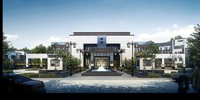 会所入口水景建筑模型