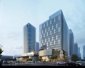 时尚商业办公楼建筑效果图 PSD