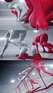 体育竞技跑步跨栏AE模板