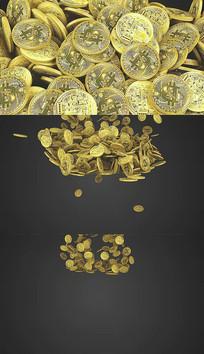 4K金币掉落背景视频素材