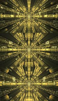金色隧道穿梭背景视频素材