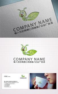 昆虫毛毛虫卡通logo设计