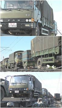 绿色车队卡车火车运输视频