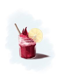 水果奶昔甜品手绘插画素材